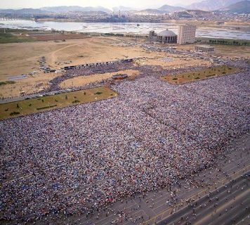 An aerial view of the 1973 Crusade in Seoul, South Korea. An estimated 1.1 million people heard the Gospel of Jesus Christ on the final day of the outreach, which took place on a mile-long runway once used for military aircraft during the Korean War.