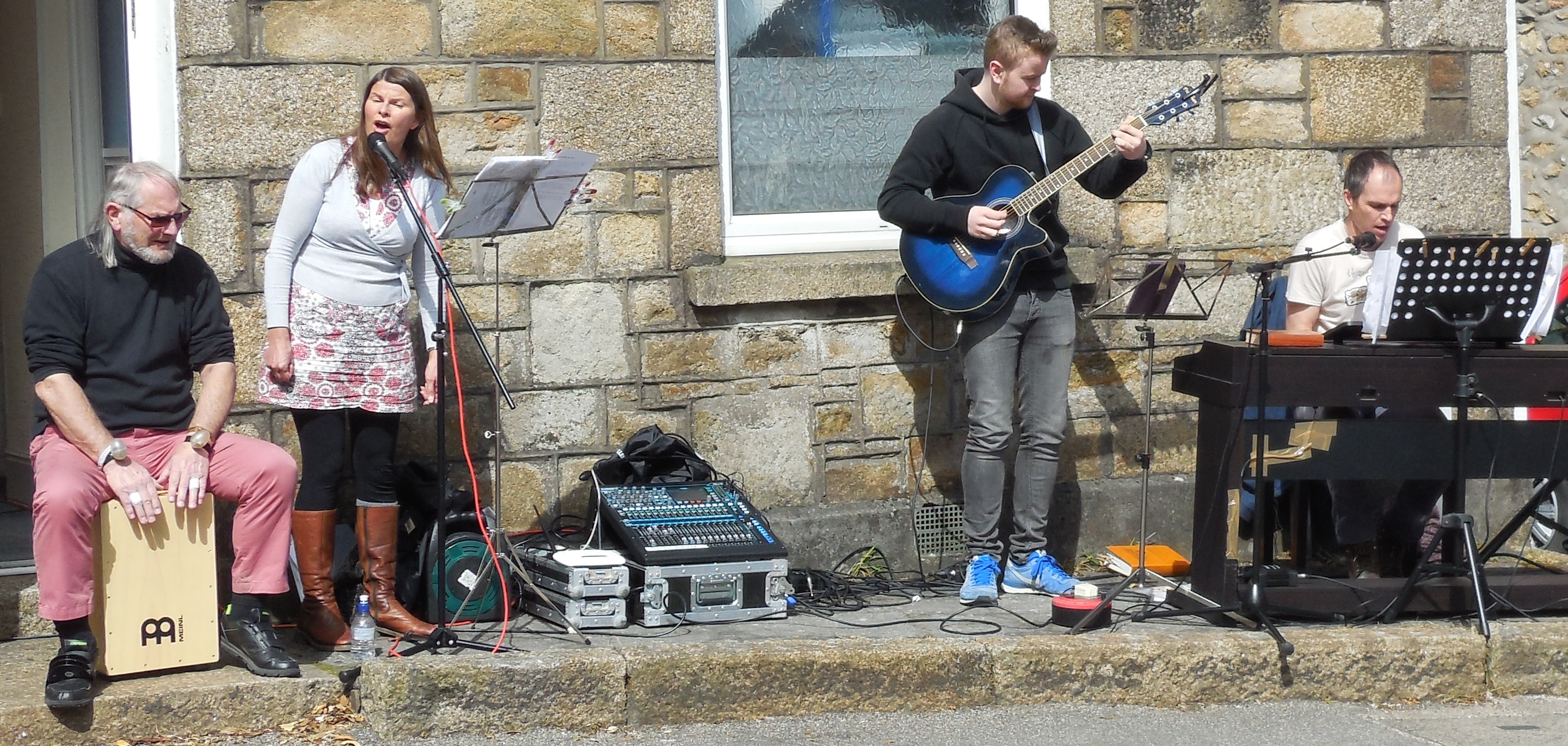 The worship band plays outside Fore Street Chapel in Camborne