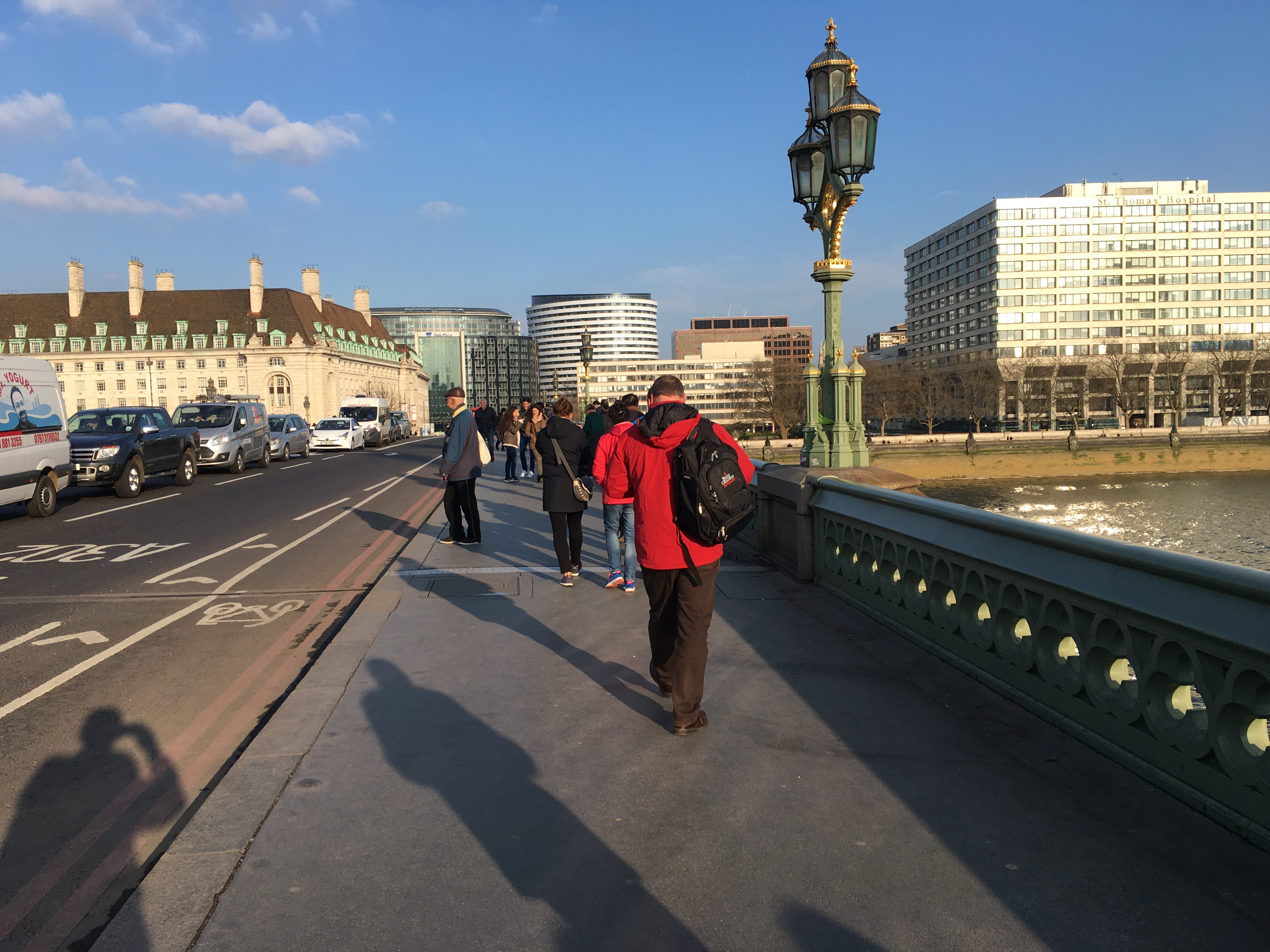A Billy Graham Chaplain crosses Westminster Bridge, where more than 40 people were killed or injured the day before