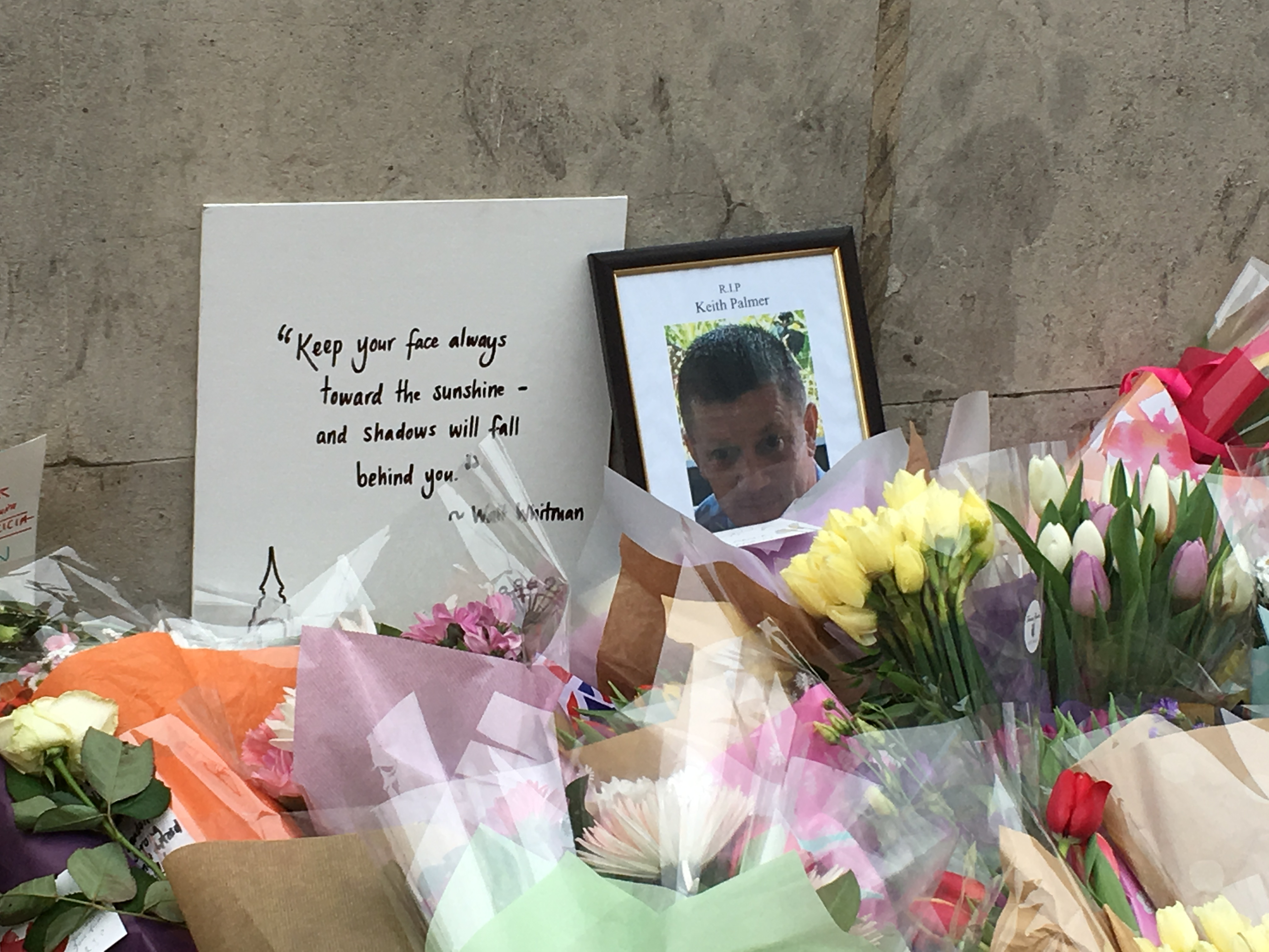 Flowers are laid at a memorial to PC Keith Palmer, who died bravely trying to prevent the terrorist from entering   Parliament